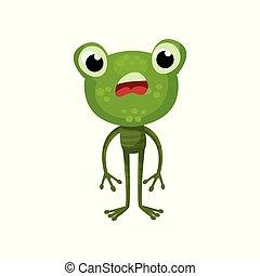平ら, 両生動物, expression., 大きい, 特徴, 緑のカエル, 顔, 本, ベクトル, デザイン, 衝撃を与えられた, 動物, head., 漫画, 子供