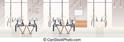 平ら, 中心, オフィスの人々, 椅子, 開いた, 現代, スペース, 創造的, 下方に, 上側, いいえ, 内部, co-working, 机, 旗, 横, 空