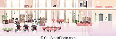 平ら, 中心, オフィスの人々, 開いた, 現代, スペース, 創造的, いいえ, 内部, co-working, 旗, 横, 空, 仕事場