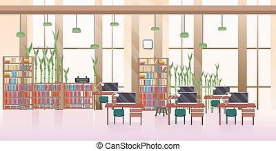 平ら, 中心, オフィススペース, 現代, 人々, 創造的, いいえ, 内部, co-working, 開いた, 横, 空, 仕事場