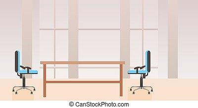 平ら, 中心, オフィス, いいえ, 現代, 人々, キャビネット, 仕事場, 机, 内部, co-working, 創造的, 横, 空