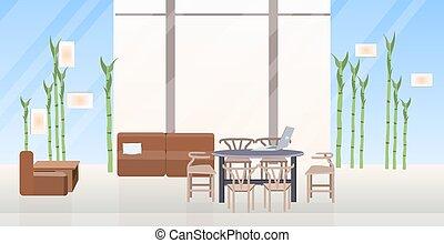 平ら, 中心, オフィス, いいえ, 現代, 人々, 現代, 創造的, ラウンジ, 区域, 内部, co-working, 横, 空, 家具
