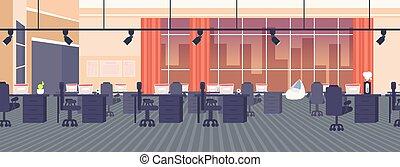 平ら, 中心, オフィス, いいえ, 窓, 開いた, 現代, 人々, スペース, 創造的, パノラマである, 内部, 背景, 夜, 都市の景観, co-working, 旗, 横, 空, 家具