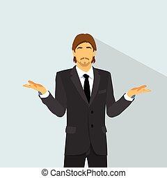 平ら, 予想外, いいえ, 質問, 混乱させられた, の上, 考え, やし, 疑わしい, ビジネスマン, 把握, 手, ...