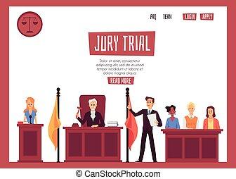 平ら, 人々, illustration., 法的, ベクトル, 法廷, 代表, 旗