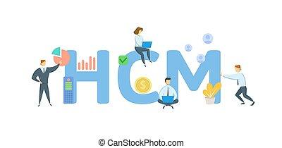 平ら, 人々, keywords, hcm, management., 資本, white., 人間, ベクトル, icons., illustration., 概念, 隔離された