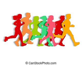 平ら, 人々, silhouette., 動くこと, 切抜き, スポーツ
