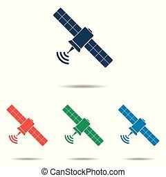 平ら, 人工衛星, セット, 単純である, -, 隔離された, 背景, ベクトル, デザイン, 白, アイコン