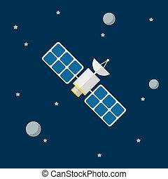平ら, 人工衛星, ベクトル, スタイル, アイコン
