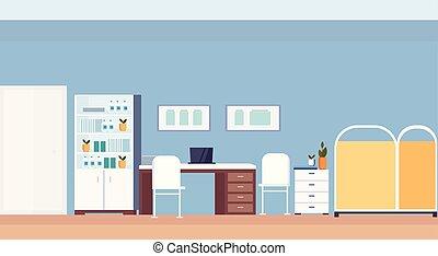 平ら, 仕事場, 部屋, オフィス, 病院, 現代, 医院, 小児科医, 机, 内部, 横, 空, 家具