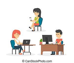 平ら, 仕事, デザイン, オフィスの人々