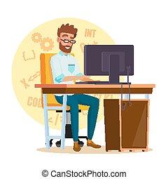 平ら, 仕事, developer., 特徴, 若い, イラスト, 隔離された, 定型, 人, computer., プログラマー, 人, 漫画, vector.