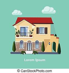 平ら, 住宅の, カラフルである, 家
