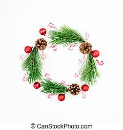 平ら, 作られた, ブランチ, お祝い, フレーム, 上, 松, クリスマスの 装飾, バックグラウンド。, 杖, キャンデー, 白, 光景, 位置, ボール, 赤