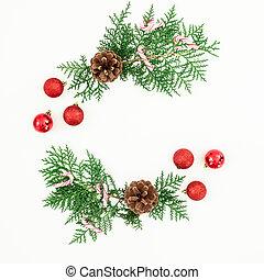 平ら, 作られた, ブランチ, フレーム, 上, 松, クリスマスの 装飾, バックグラウンド。, 杖, キャンデー, 白, 光景, 位置, ボール, 赤