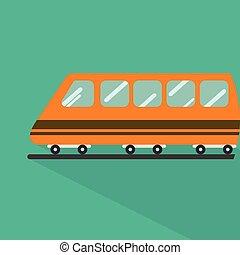 平ら, 使用, セット, アイコン, 交通機関, 列車, 通過, 長い間,  , 多く, more., 車, 偉人, 影, スタイル, 公衆, アイコン