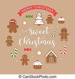 平ら, 使用, 杖, 陽気, 甘い, 挨拶, ショウガ, クリスマス, デザイン, キャンデー, 背景, テキスト, bread, ∥あるいは∥, カード, 人