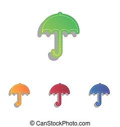 平ら, 傘, 保護, アイコン, set., シンボル。, 雨, 印, アップリケ, デザイン, icon., colorfull, style.