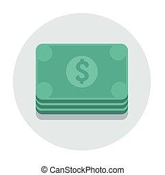 平ら, 円, ベクトル, ドル, アイコン