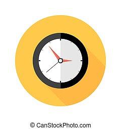 平ら, 円, 時計, 期限, アイコン