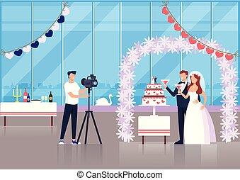 平ら, 写真, グラフィック, 恋人, 写真, 取得, 特徴, 手入れをしなさい。, イラスト, 花嫁, ベクトル, デザイン, 結婚式, 専門家, 漫画, 人