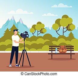 平ら, 写真, グラフィック, 自然, 写真, 取得, 特徴, イラスト, 公衆, ベクトル, デザイン, 専門家, 人, 漫画, park.