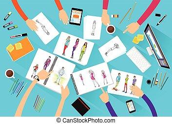 平ら, 写真, ファッション, 角度, モデル, 上, 創造的, 見る, デザイナー, デザイン, チーム, 光景