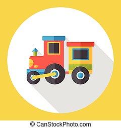 平ら, 列車, おもちゃ, アイコン