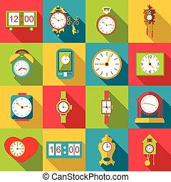 平ら, 別, アイコン, セット, スタイル, clocks