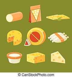 平ら, 別, セット, イラスト, ベクトル, チーズ, タイプ