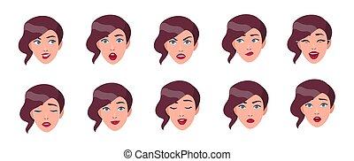 平ら, 別, セット, カラフルである, collection., 女性, イラスト, 顔, ベクトル, emotions., 美顔術, 女の子, 表現, style.