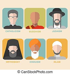平ら, 別, セット, 人々, confession, 伝統的である, 宗教, ベクトル, 最新流行である, 衣類, ...