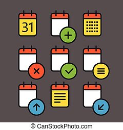 平ら, 別, セット, 円形にされる, アイコン, 色, corners., 要素, デザイン, カレンダー