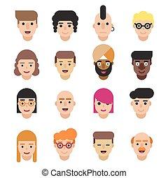 平ら, 別, セット, 女性, 16, 専門職, 現代, avatars, icons., 年齢, ベクトル, nationalities., 特徴, マレ, illustrations.