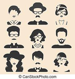 平ら, 別, セット, 頭, アイコン, collection., 人々, style., ベクトル, 女性, 顔, 最新流行である, マレ, ∥あるいは∥