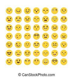 平ら, 別, セット, emoticons., アイコン, 大きい, コレクション, expressions., かわいい, design., emoji
