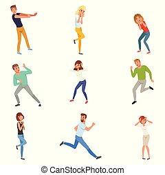 平ら, 別, セット, positions., 人々, 恐れている, 人, 男性, 女の子, 若い,...