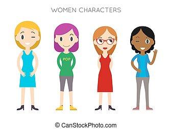平ら, 別, 女性, 人々, set., 漫画, poses., ベクトル, 多様, style.