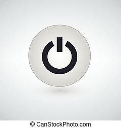 平ら, 力, 単純である, ボタン, 隔離された, 背景, ベクトル, デザイン, アイコン, 白