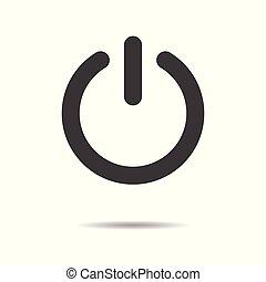 平ら, 力, 単純である, ボタン, -, 隔離された, 背景, ベクトル, デザイン, 白, アイコン