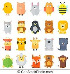 平ら, 動物, illustration., アイコン, collection., set., ベクトル, 動物