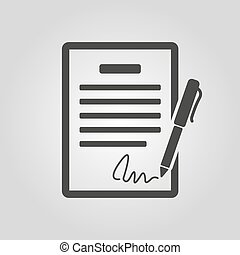 平ら, 協定, 協定, 合意, 契約, シンボル。, 大会, icon., 署名