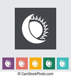 平ら, 単一, 食, icon., 太陽