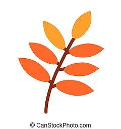 平ら, 単純である, 木, イラスト, 秋, ブランチ