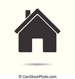 平ら, 単純である, -, 隔離された, 背景, ベクトル, デザイン, 家, 白, アイコン