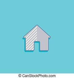 平ら, 単純である, house., イラスト, ベクトル, デザイン, 家, アイコン