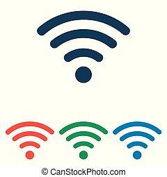 平ら, 単純である, set-, wifi, 隔離された, 背景, ベクトル, デザイン, 白, アイコン