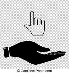 平ら, 印。, 手, スタイル, アイコン