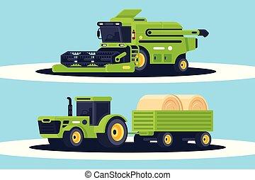 平ら, 収穫, delivery., 干し草, 機械類, 収穫する, 農業, 山