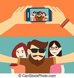 平ら, 取得, デザイン, selfie, 写真